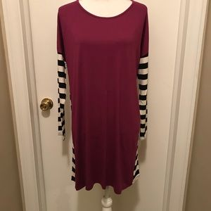 Magenta tunic/dress with striped sleeves